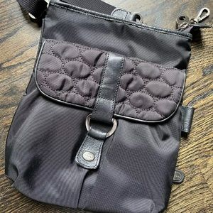 Mosey Black Nylon Leather Crossbody Bag